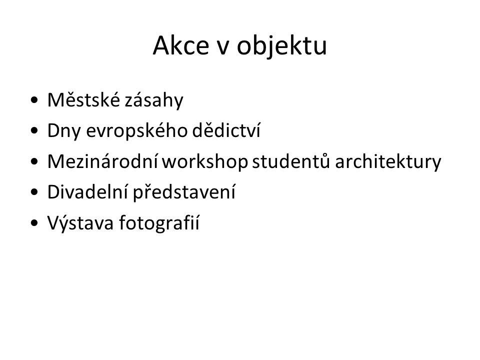 Akce v objektu Městské zásahy Dny evropského dědictví Mezinárodní workshop studentů architektury Divadelní představení Výstava fotografií