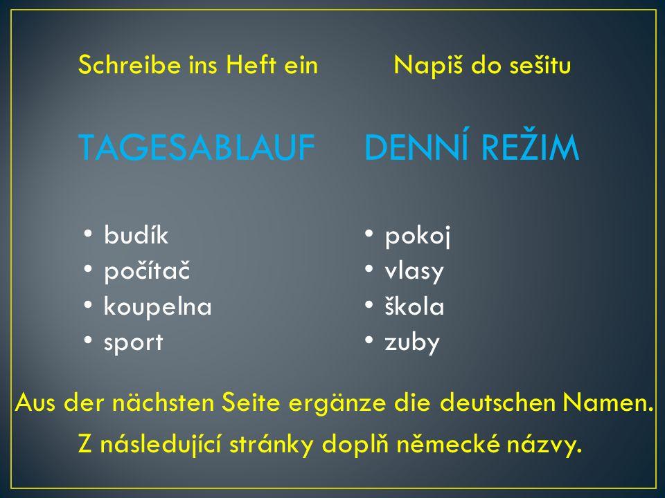 TAGESABLAUFDENNÍ REŽIM Napiš do sešitu budík počítač koupelna sport pokoj vlasy škola zuby Z následující stránky doplň německé názvy.