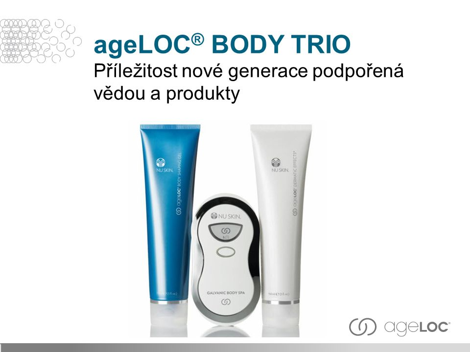 ageLOC ® BODY TRIO Příležitost nové generace podpořená vědou a produkty