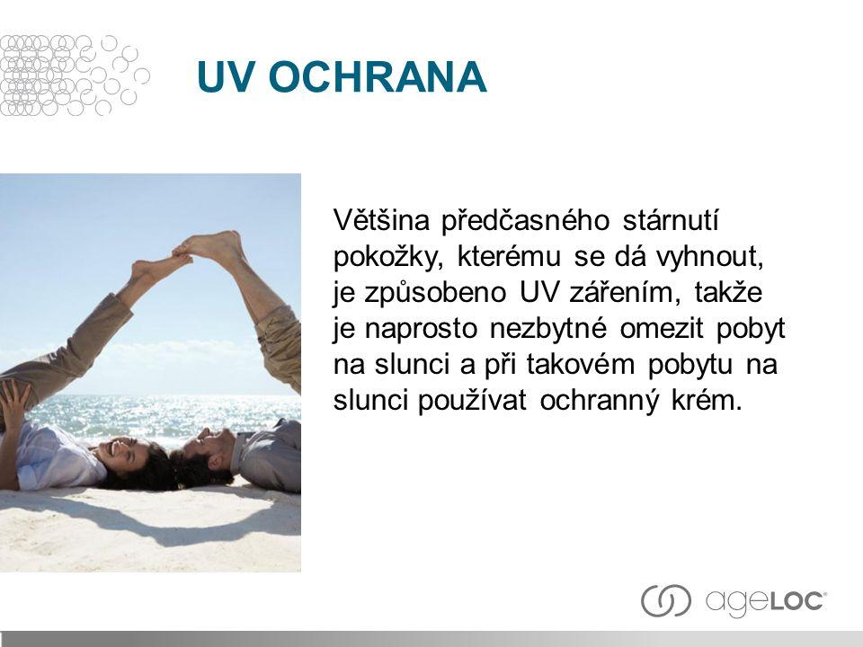 Většina předčasného stárnutí pokožky, kterému se dá vyhnout, je způsobeno UV zářením, takže je naprosto nezbytné omezit pobyt na slunci a při takovém pobytu na slunci používat ochranný krém.