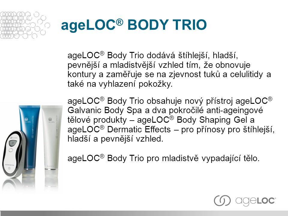 ageLOC ® Body Trio dodává štíhlejší, hladší, pevnější a mladistvější vzhled tím, že obnovuje kontury a zaměřuje se na zjevnost tuků a celulitidy a také na vyhlazení pokožky.
