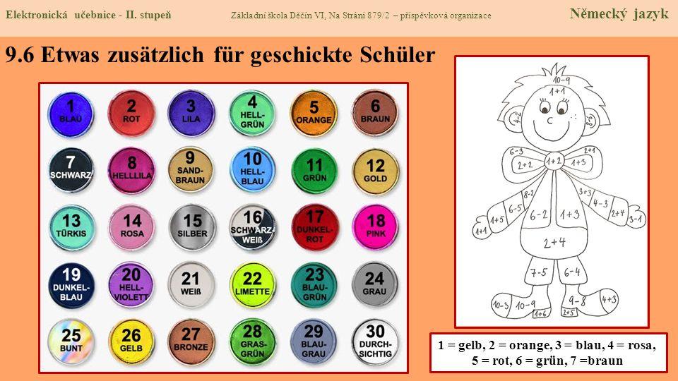 9.6 Etwas zusätzlich für geschickte Schüler 1 = gelb, 2 = orange, 3 = blau, 4 = rosa, 5 = rot, 6 = grün, 7 =braun Elektronická učebnice - II. stupeň Z