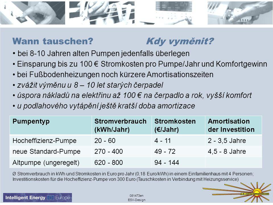 ESV-Design 081473en Wann tauschen? Kdy vyměnit? bei 8-10 Jahren alten Pumpen jedenfalls überlegen Einsparung bis zu 100 Stromkosten pro Pumpe/Jahr und
