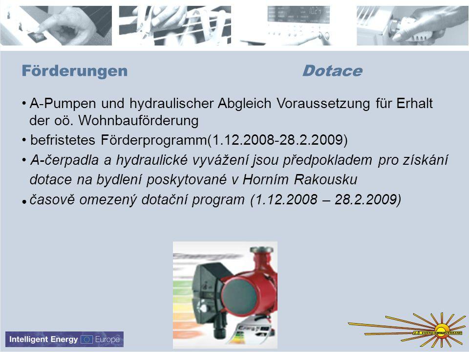 ESV-Design 081473en Förderungen Dotace A-Pumpen und hydraulischer Abgleich Voraussetzung für Erhalt der oö. Wohnbauförderung befristetes Förderprogram