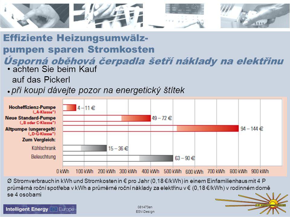 ESV-Design 081473en Effiziente Heizungsumwälz- pumpen sparen Stromkosten Úsporná oběhová čerpadla šetří náklady na elektřinu achten Sie beim Kauf auf das Pickerl při koupi dávejte pozor na energetický štítek Ø Stromverbrauch in kWh und Stromkosten in pro Jahr (0,18 /kWh) in einem Einfamilienhaus mit 4 P průměrná roční spotřeba v kWh a průměrné roční náklady za elektřinu v (0,18 /kWh) v rodinném domě se 4 osobami