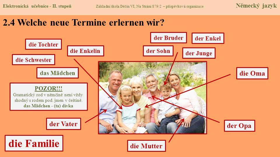 die Familie der Opa die Oma die Tochter die Mutter der Vater die Enkelin die Schwester der Enkel der Sohn der Bruder das Mädchen der Junge POZOR!!! Gr