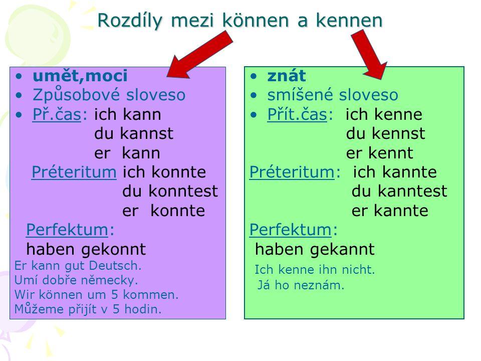 Rozdíly mezi können a kennen umět,moci Způsobové sloveso Př.čas: ich kann du kannst er kann Préteritum ich konnte du konntest er konnte Perfektum: haben gekonnt Er kann gut Deutsch.