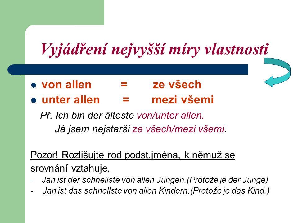 Vyjádření nejvyšší míry vlastnosti von allen = ze všech unter allen = mezi všemi Př.