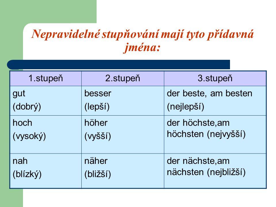Nepravidelné stupňování mají tyto přídavná jména: 1.stupeň2.stupeň3.stupeň gut (dobrý) besser (lepší) der beste, am besten (nejlepší) hoch (vysoký) höher (vyšší) der höchste,am höchsten (nejvyšší) nah (blízký) näher (bližší) der nächste,am nächsten (nejbližší)