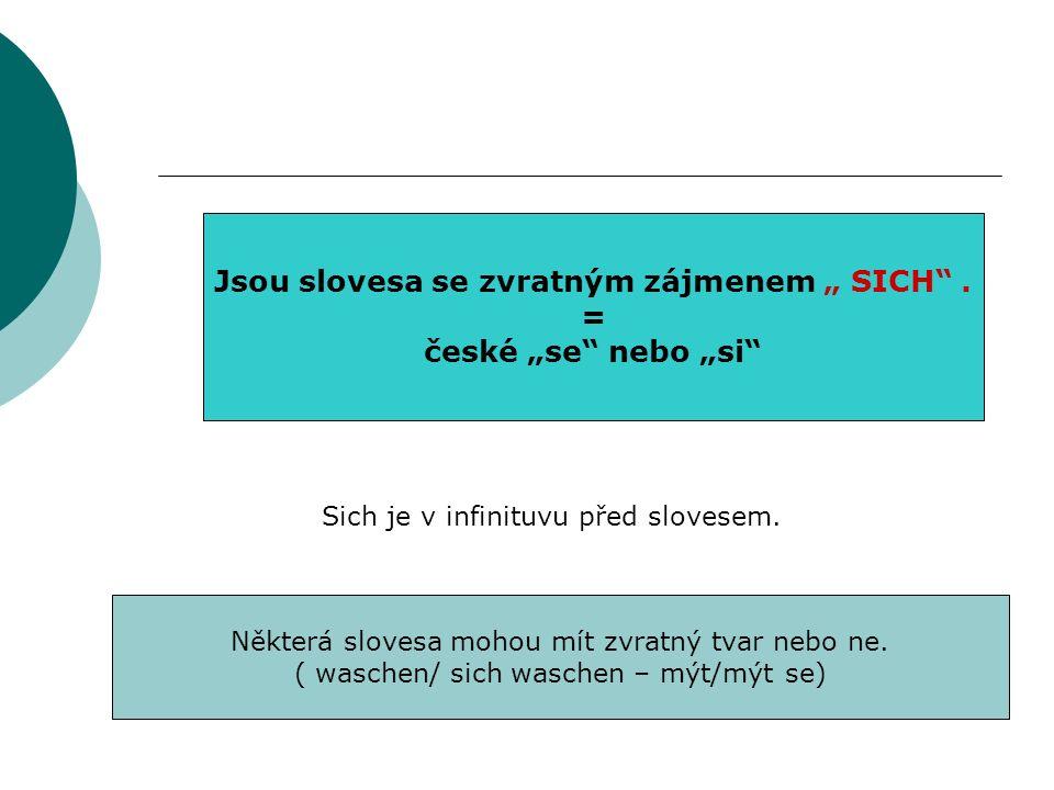 Jsou slovesa se zvratným zájmenem SICH.= české se nebo si Sich je v infinituvu před slovesem.