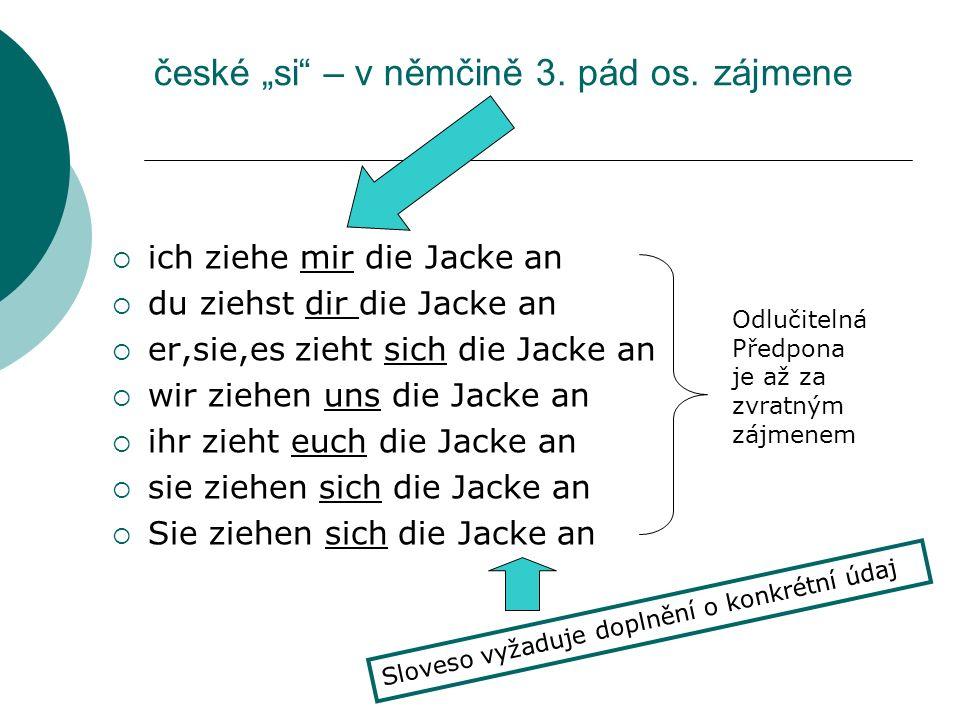 české si – v němčině 3.pád os.