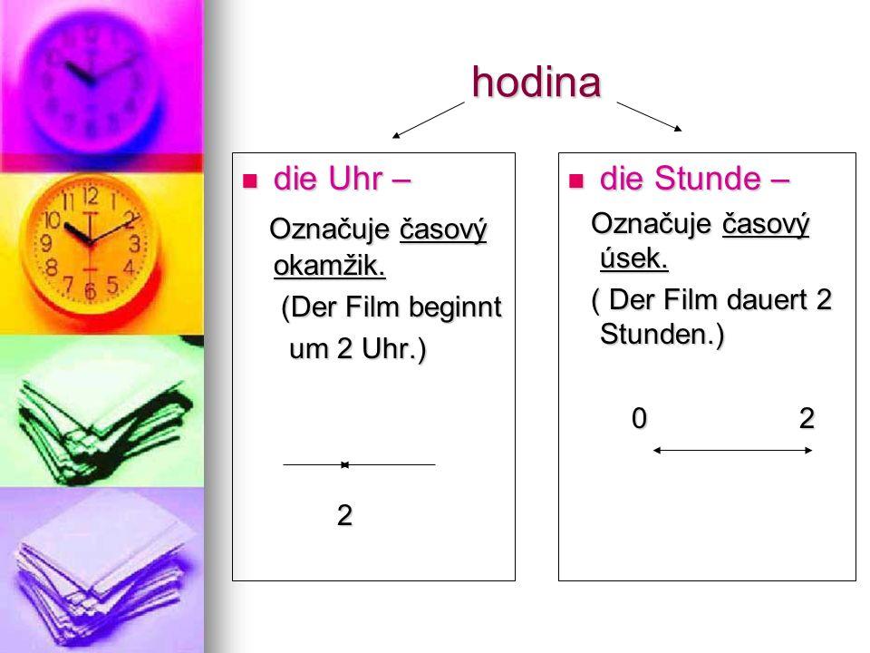 Další předložky v časových údajích um = v (mluvíme-li o hodinách) Um wie viel Uhr/Wann.