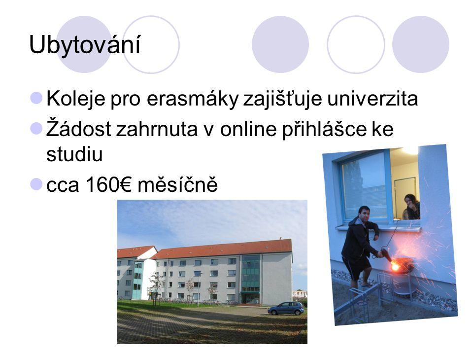 Ubytování Koleje pro erasmáky zajišťuje univerzita Žádost zahrnuta v online přihlášce ke studiu cca 160 měsíčně