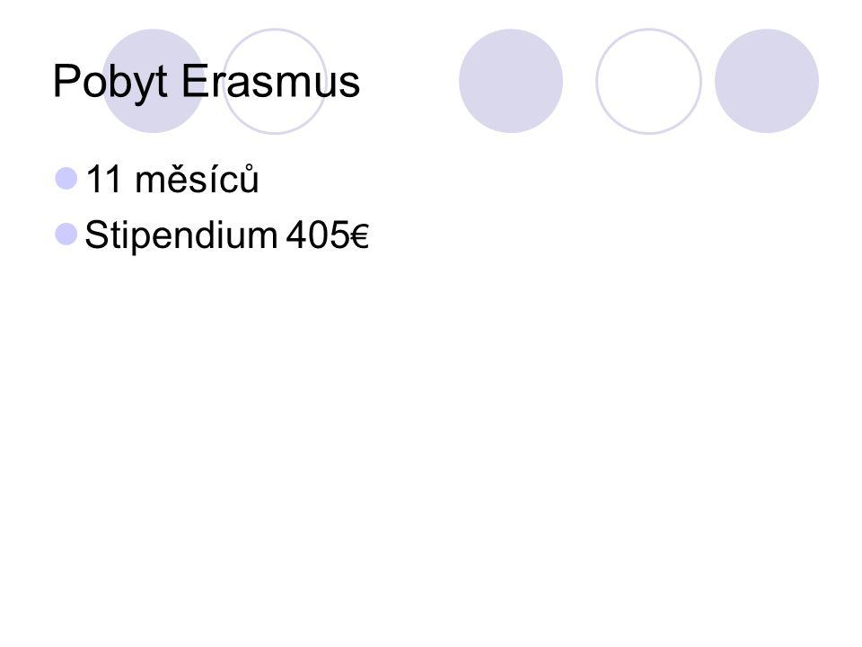 Pobyt Erasmus 11 měsíců Stipendium 405