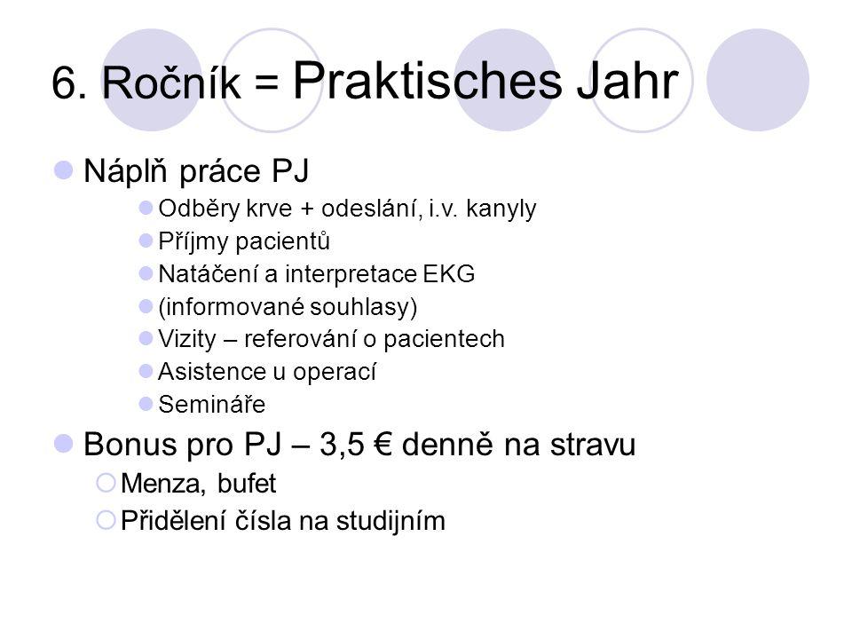 6. Ročník = Praktisches Jahr Náplň práce PJ Odběry krve + odeslání, i.v. kanyly Příjmy pacientů Natáčení a interpretace EKG (informované souhlasy) Viz