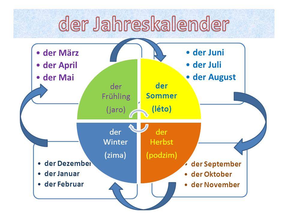 der September der Oktober der November der Dezember der Januar der Februar der Juni der Juli der August der März der April der Mai der Frühling (jaro)