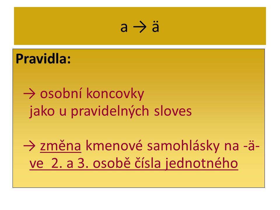 a ä Pravidla: osobní koncovky jako u pravidelných sloves změna kmenové samohlásky na -ä- ve 2. a 3. osobě čísla jednotného