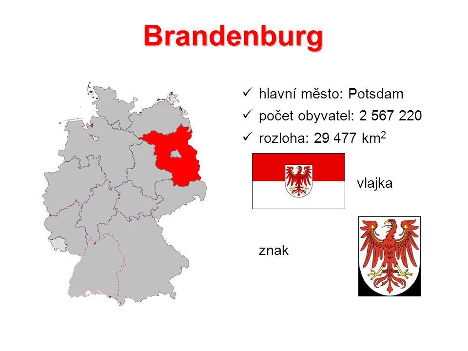 Brandenburg hlavní město: Potsdam počet obyvatel: 2 567 220 rozloha: 29 477 km 2 vlajka znak