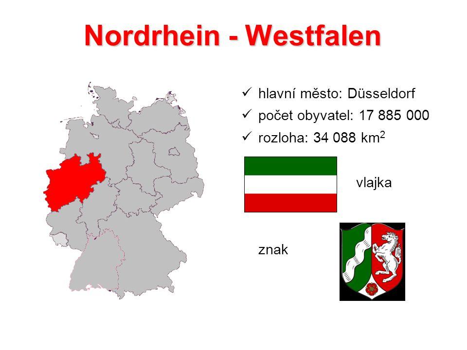 Nordrhein - Westfalen hlavní město: Düsseldorf počet obyvatel: 17 885 000 rozloha: 34 088 km 2 vlajka znak