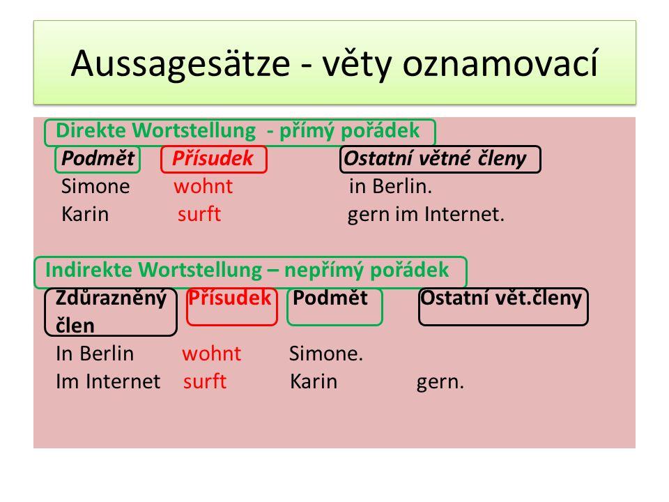 Aussagesätze - věty oznamovací Direkte Wortstellung - přímý pořádek Podmět Přísudek Ostatní větné členy Simone wohnt in Berlin.