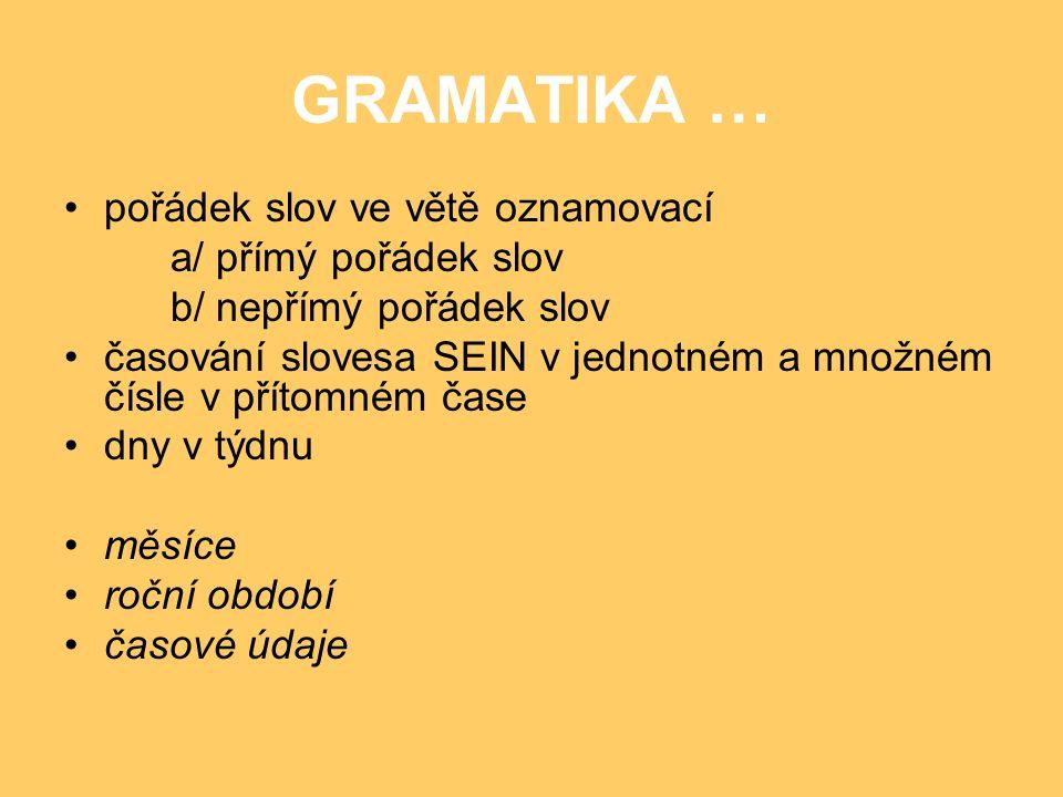 GRAMATIKA … pořádek slov ve větě oznamovací a/ přímý pořádek slov b/ nepřímý pořádek slov časování slovesa SEIN v jednotném a množném čísle v přítomné