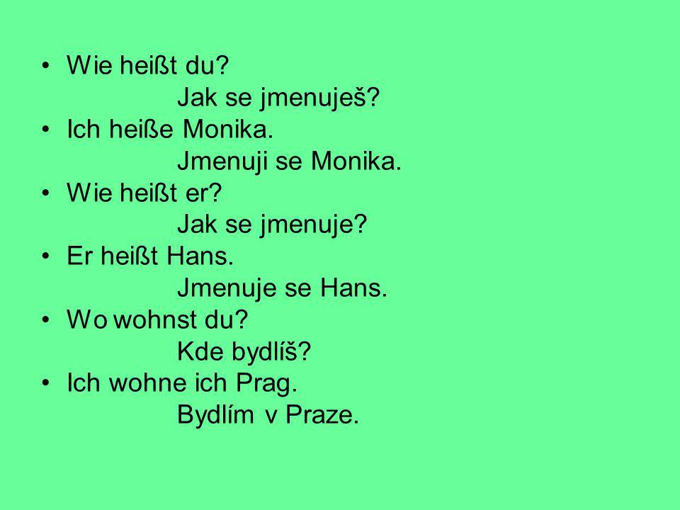 Wie heißt du? Jak se jmenuješ? Ich heiße Monika. Jmenuji se Monika. Wie heißt er? Jak se jmenuje? Er heißt Hans. Jmenuje se Hans. Wo wohnst du? Kde by