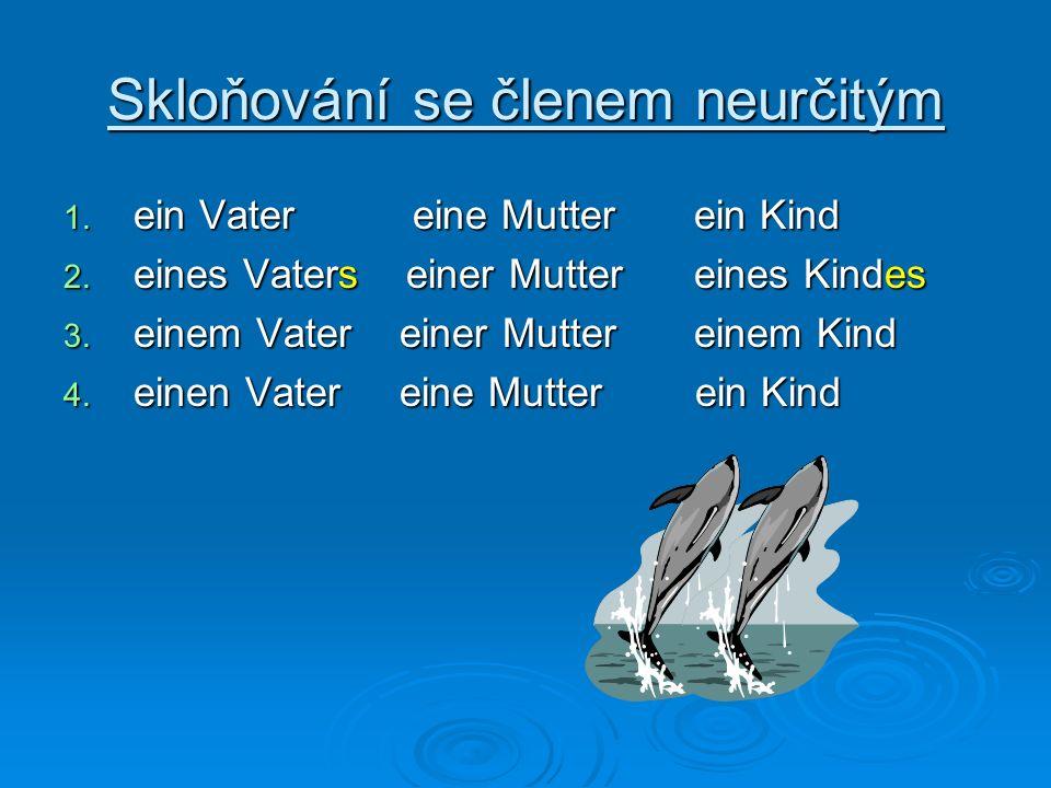 Skloňování se členem neurčitým 1. ein Vater eine Mutterein Kind 2. eines Vaters einer Muttereines Kindes 3. einem Vater einer Muttereinem Kind 4. eine