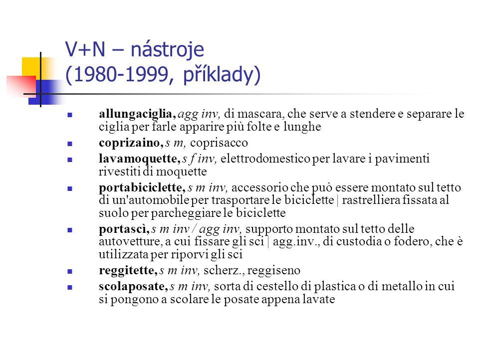 V+N – nástroje (1980-1999, příklady) allungaciglia, agg inv, di mascara, che serve a stendere e separare le ciglia per farle apparire più folte e lung