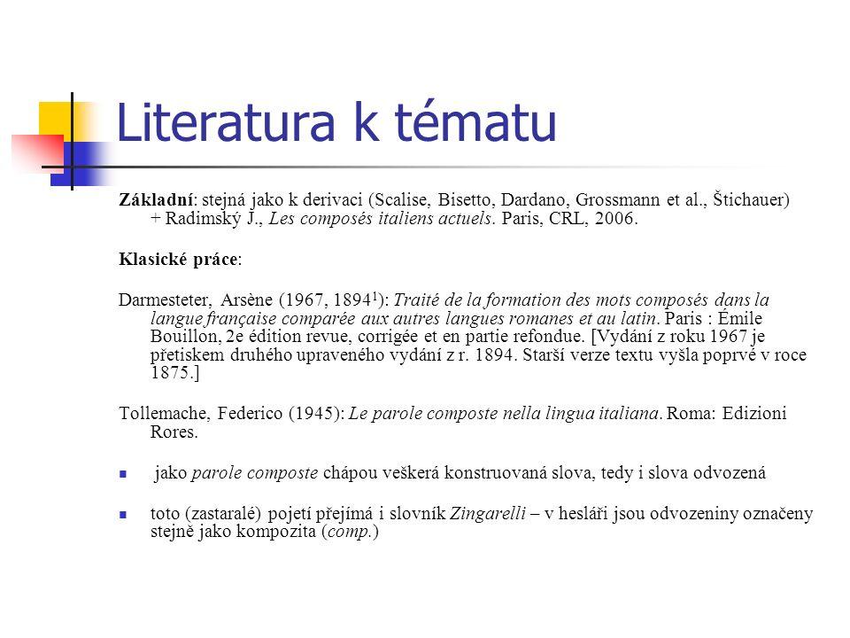 Literatura k tématu Základní: stejná jako k derivaci (Scalise, Bisetto, Dardano, Grossmann et al., Štichauer) + Radimský J., Les composés italiens act