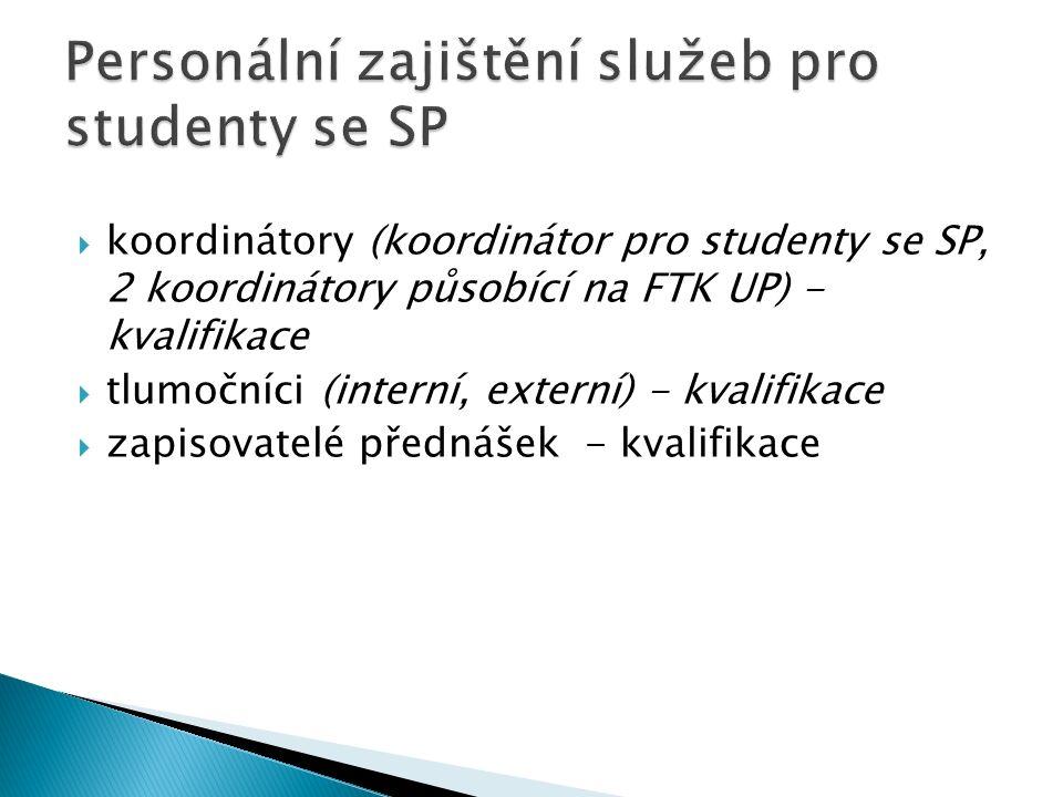 koordinátory (koordinátor pro studenty se SP, 2 koordinátory působící na FTK UP) - kvalifikace tlumočníci (interní, externí) - kvalifikace zapisovatel