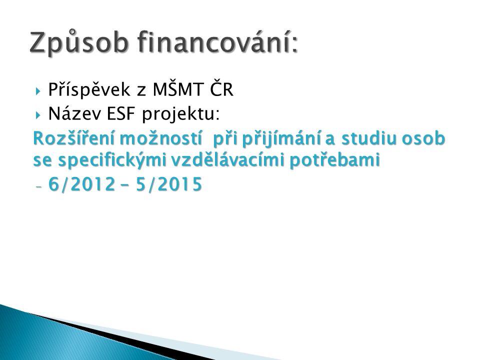 Příspěvek z MŠMT ČR Název ESF projektu: Rozšíření možností při přijímání a studiu osob se specifickými vzdělávacími potřebami - 6/2012 – 5/2015