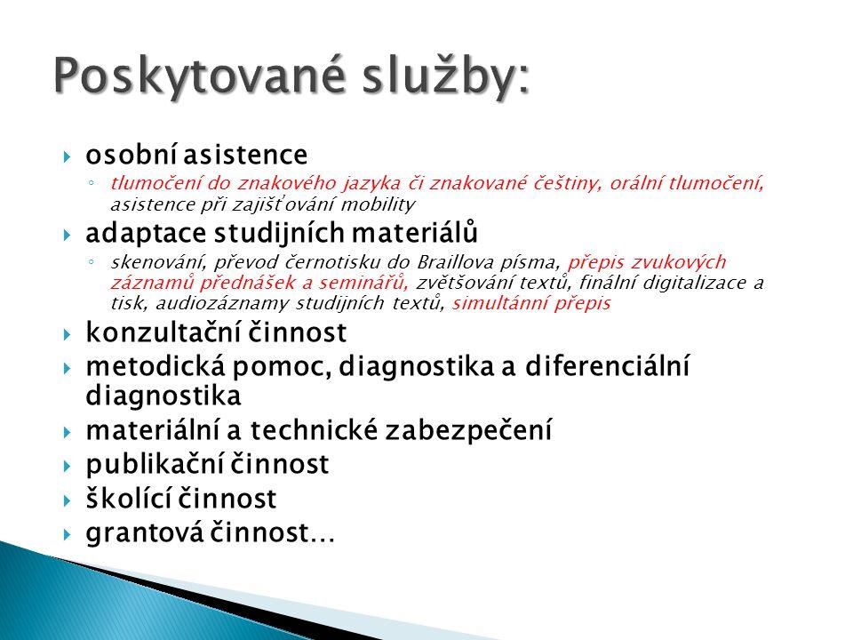 osobní asistence tlumočení do znakového jazyka či znakované češtiny, orální tlumočení, asistence při zajišťování mobility adaptace studijních materiál