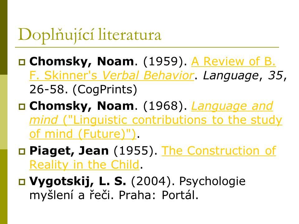 Doplňující literatura  Chomsky, Noam. (1959). A Review of B. F. Skinner's Verbal Behavior. Language, 35, 26-58. (CogPrints)A Review of B. F. Skinner'