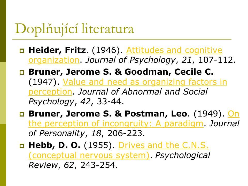Doplňující literatura  Heider, Fritz. (1946). Attitudes and cognitive organization. Journal of Psychology, 21, 107-112.Attitudes and cognitive organi