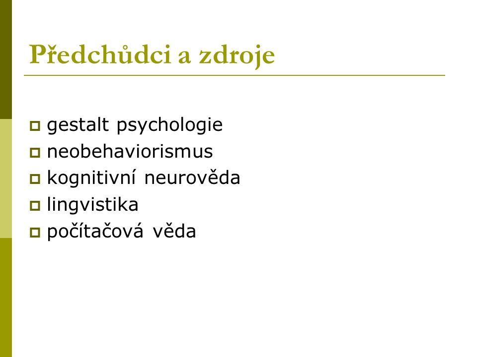 Předchůdci a zdroje  gestalt psychologie  neobehaviorismus  kognitivní neurověda  lingvistika  počítačová věda