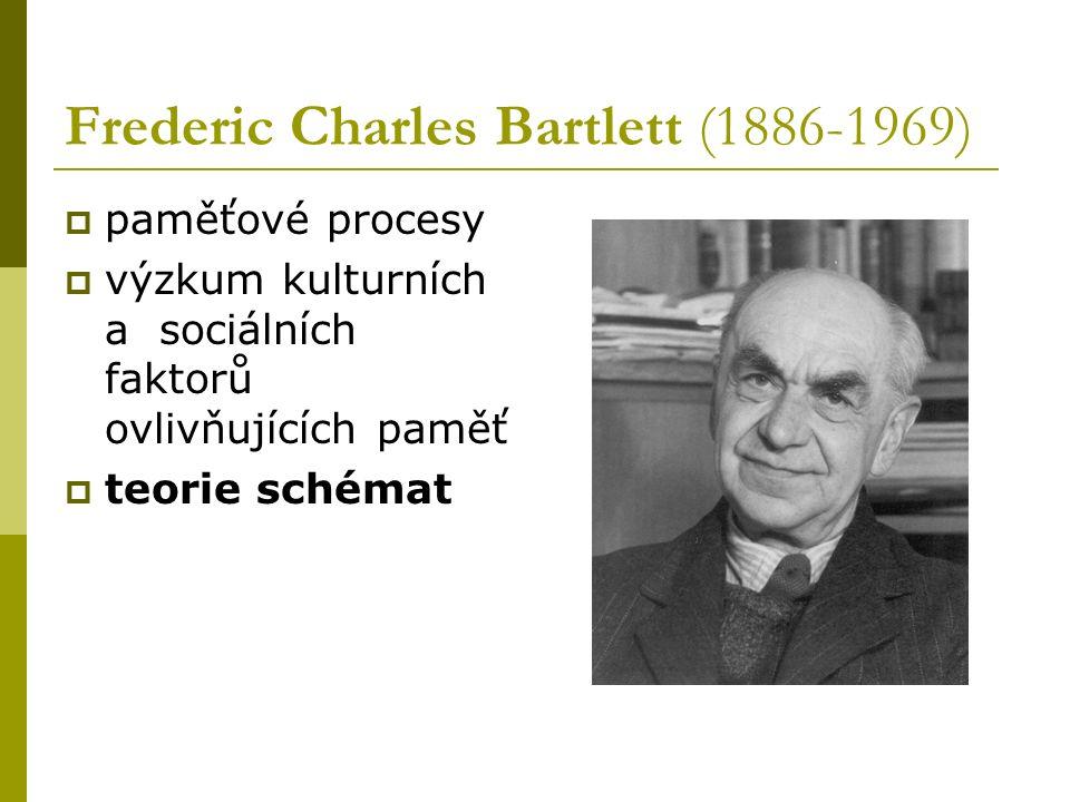 Frederic Charles Bartlett (1886-1969)  paměťové procesy  výzkum kulturních a sociálních faktorů ovlivňujících paměť  teorie schémat