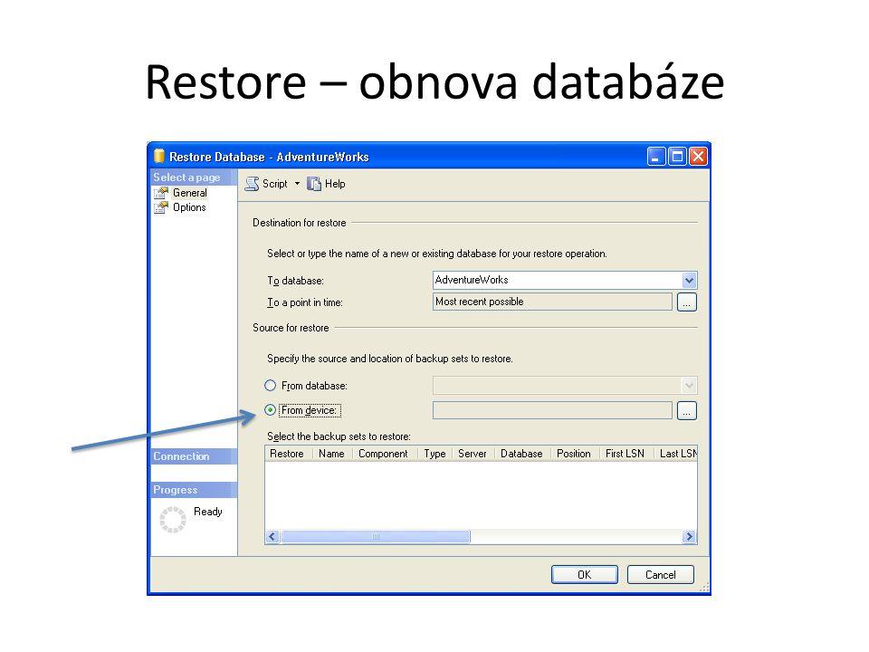 Restore – obnova databáze