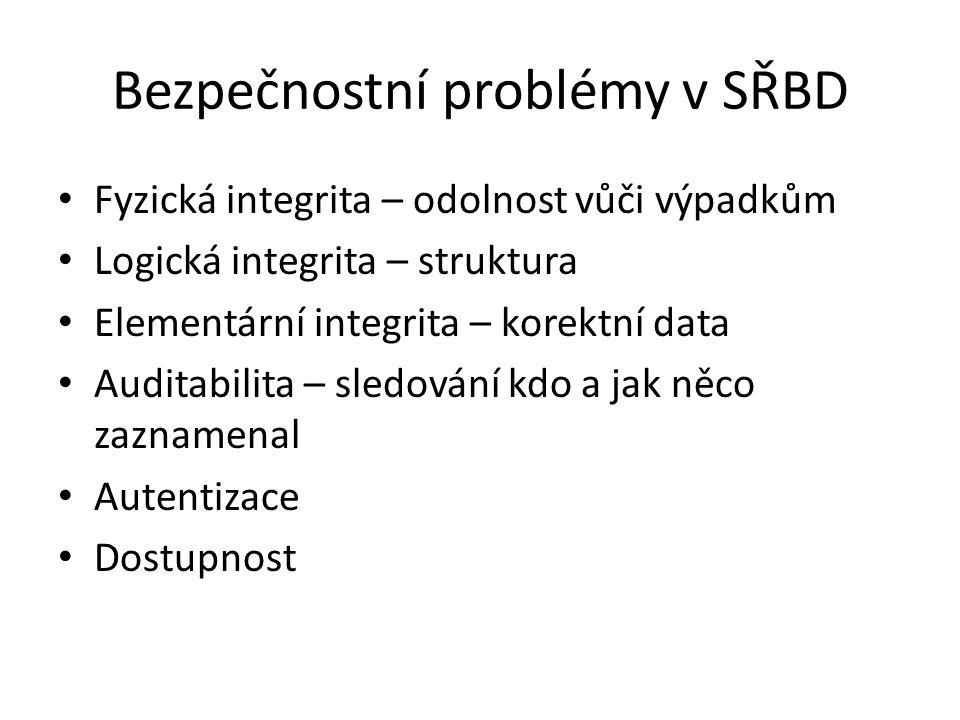 Bezpečnostní problémy v SŘBD Fyzická integrita – odolnost vůči výpadkům Logická integrita – struktura Elementární integrita – korektní data Auditabilita – sledování kdo a jak něco zaznamenal Autentizace Dostupnost
