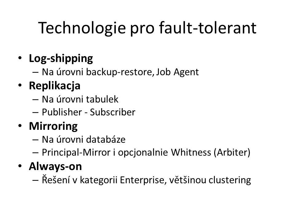 Technologie pro fault-tolerant Log-shipping – Na úrovni backup-restore, Job Agent Replikacja – Na úrovni tabulek – Publisher - Subscriber Mirroring –
