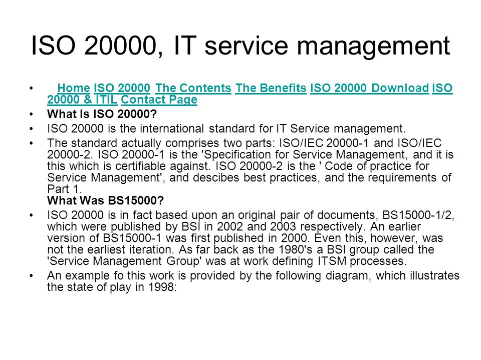 ISO 20000, IT service management Home ISO 20000 The Contents The Benefits ISO 20000 Download ISO 20000 & ITIL Contact PageHomeISO 20000The ContentsThe