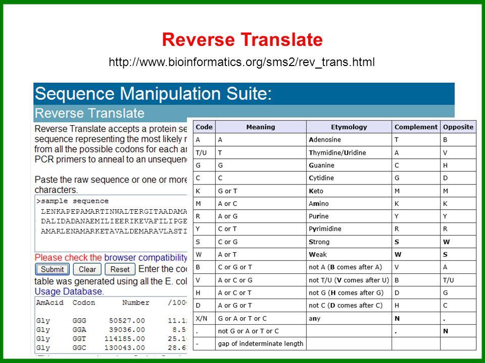 LENKAPEPAMARTINWALTERGITAADAMAGATAAGNESALANCECILCEDRIK DALIDADANAEMILIEERIKEVAFILIPGERHARDHERMINAKARELKATERIN AMARLENAMARKETAVALDEMARAVLASTIMILA Reverse Translate http://www.bioinformatics.org/sms2/rev_trans.html Přeložte si protein...