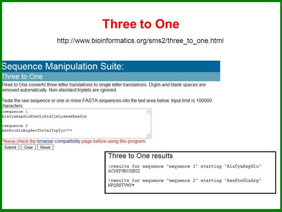 Three to One http://www.bioinformatics.org/sms2/three_to_one.html
