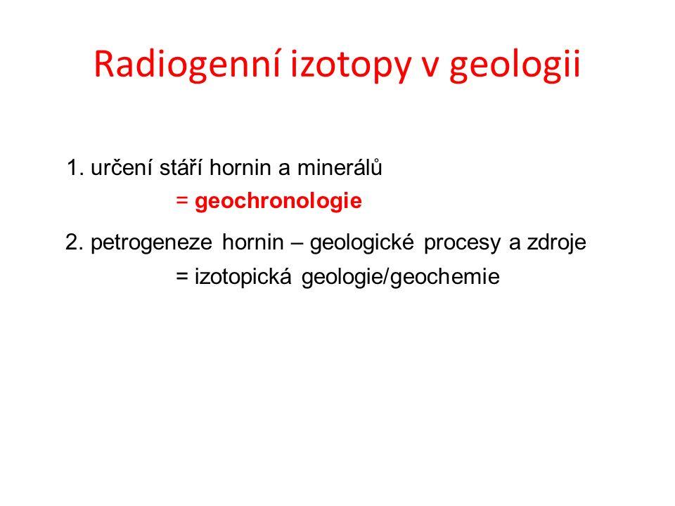 Radiogenní izotopy v geologii 1. určení stáří hornin a minerálů = geochronologie 2.