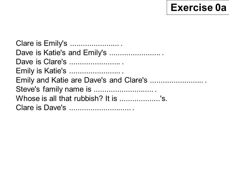 Emily Watson Katie Watson Steve Chang Emily Watson Steve Chang Clare Watson Dave Watson Ziggy Exercise 0