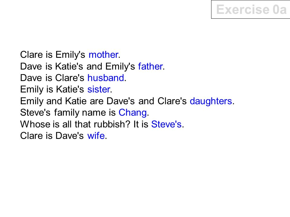 Exercise 0a Clare is Emily s mother.Dave is Katie s and Emily s father.