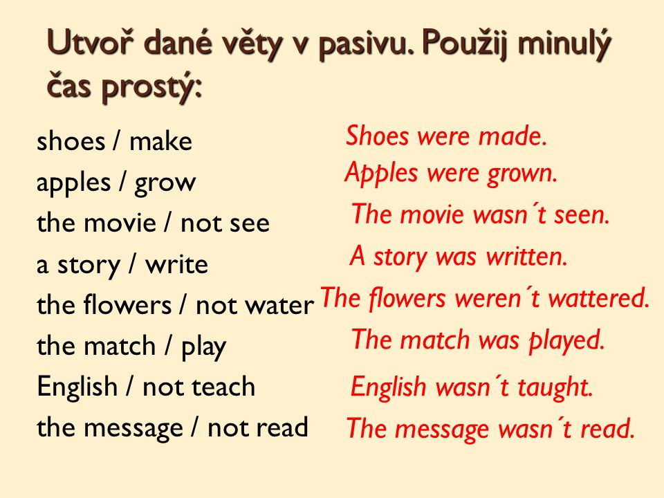 Utvoř dané věty v pasivu. Použij minulý čas prostý: shoes / make apples / grow the movie / not see a story / write the flowers / not water the match /