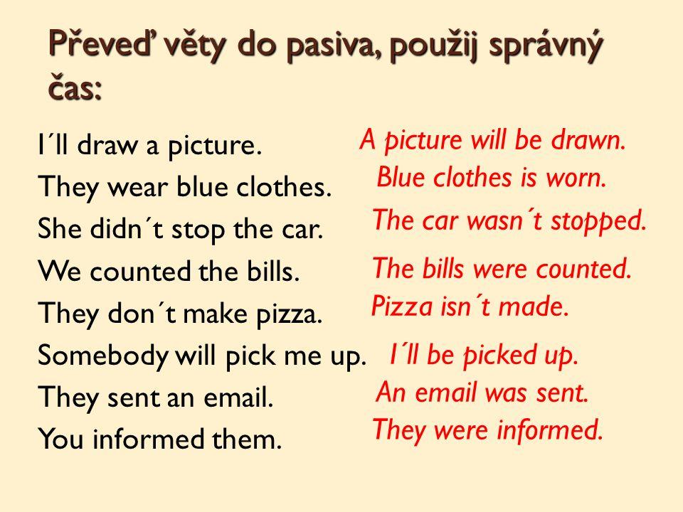 Převeď věty do pasiva, použij správný čas: I´ll draw a picture.
