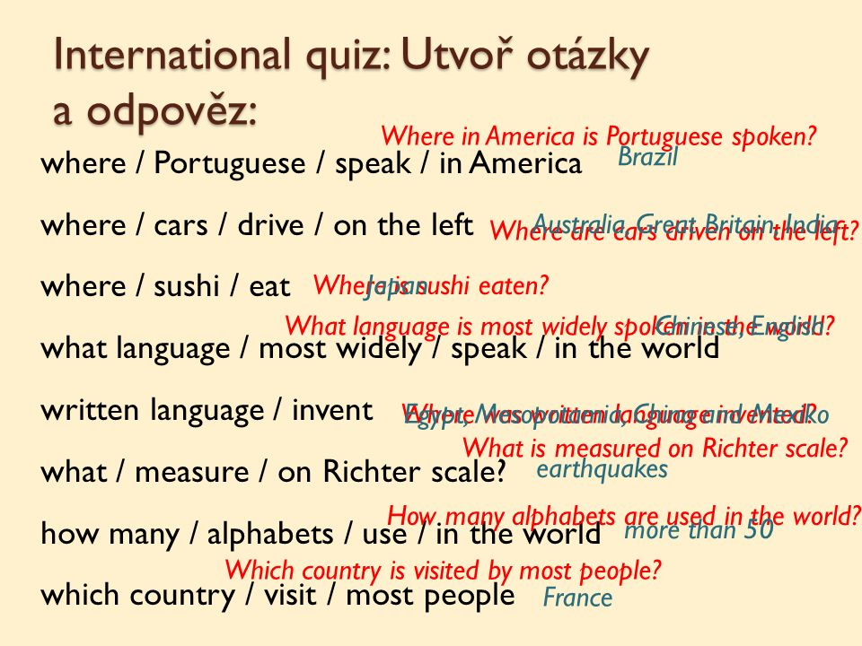 International quiz: Utvoř otázky a odpověz: where / Portuguese / speak / in America where / cars / drive / on the left where / sushi / eat what langua