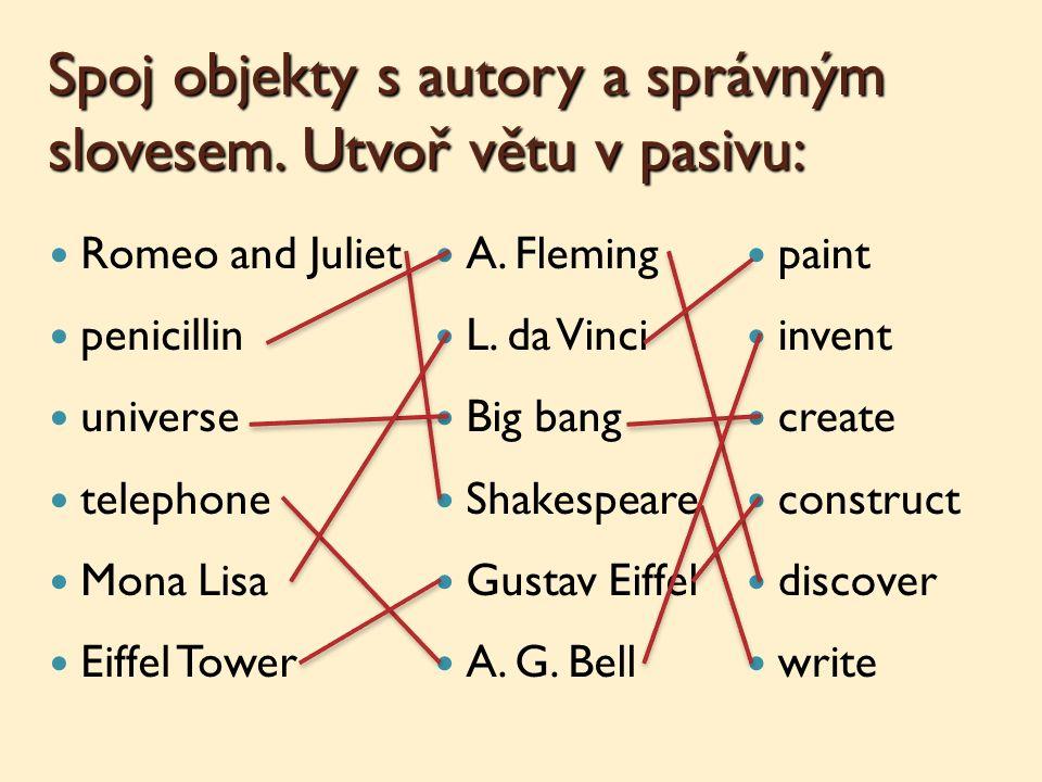 Spoj objekty s autory a správným slovesem.