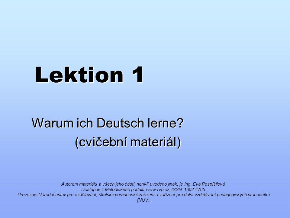 Lektion 1 Warum ich Deutsch lerne.